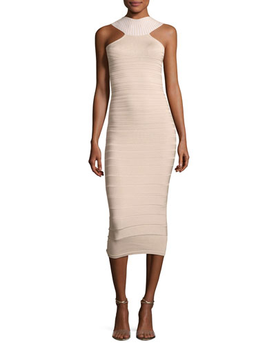 Sleeveless Bandage Midi Cocktail Dress, Khaki