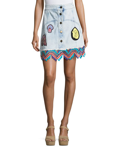 Embroidered Denim A-Line Miniskirt, Sky