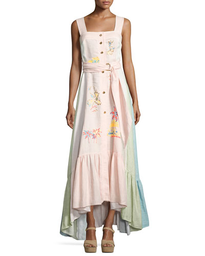 Sleeveless Embroidered Linen Button-Front Maxi Dress, Pink