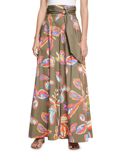 Belted Floral Palazzo Pants, Khaki