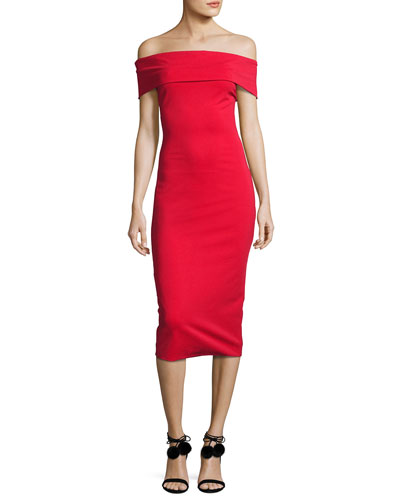 Off-the-Shoulder Sheath Dress, Red