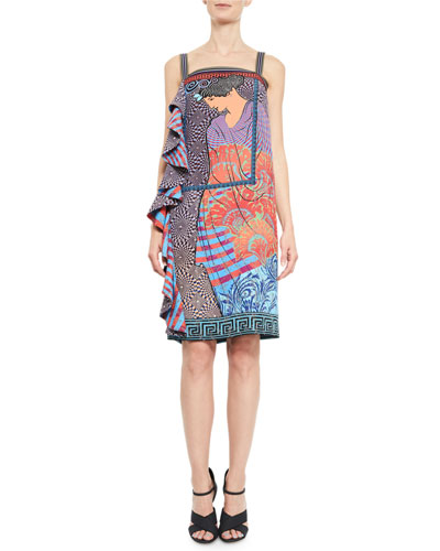 Aello-Print Side-Ruffle Dress, Purple