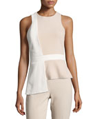 Sleeveless Bicolor Top with Overlapping Panel, Khaki