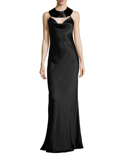 Charmeuse Beaded-Collar Gown, Black
