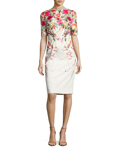 Clarie Floral Boat-Neck Sheath Dress, Pink/White