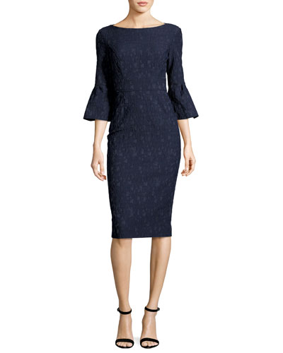 Textured Stretch-Jacquard Bell-Sleeve Sheath Dress, Navy