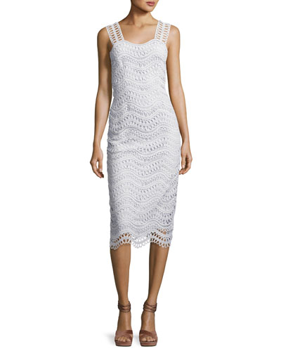 Wave-Lace Sleeveless Sheath Dress, Light Blue