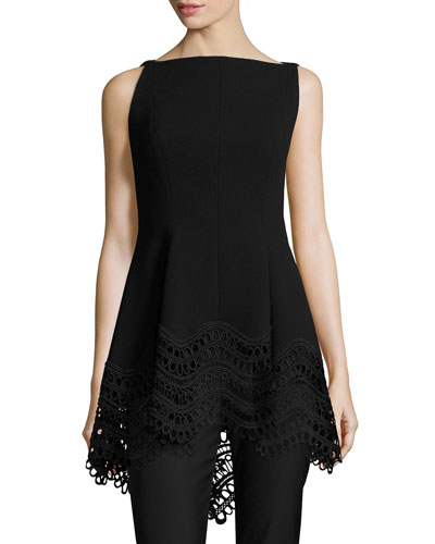 Boat-Neck High-Low Lace-Hem Top, Black