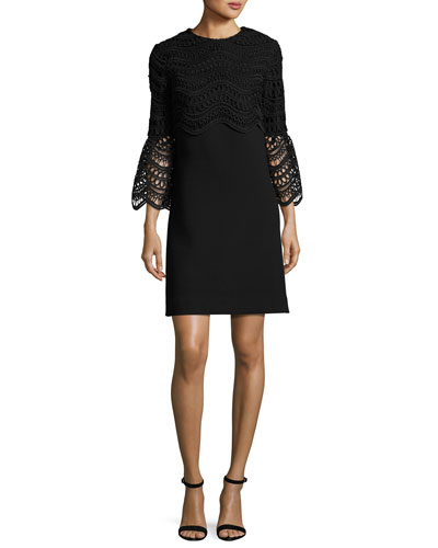 Bell-Sleeve Lace-Bodice Tunic Dress, Black