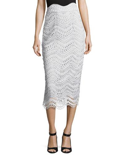 Scalloped Lace High-Waist Pencil Skirt, Light Blue