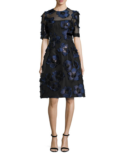 Holly Floral Fil Coupé Fit & Flare Dress, Navy/Black