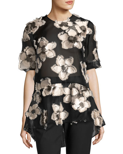 Floral Fil Coupé Short-Sleeve Top, Blush/Black