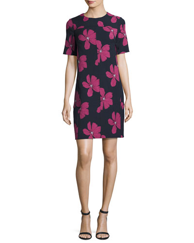 Floral Seamed Tunic Minidress, Blue/Pink