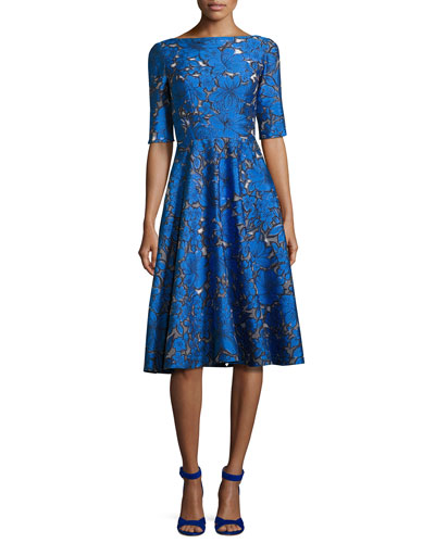 Floral Jacquard Elbow-Sleeve Full-Skirt Dress