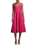 Floral Fil Coupé Sleeveless A-Line Dress, Fuchsia