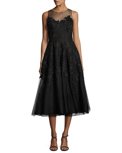 Metallic Floral-Lace Tulle Cocktail Dress, Black