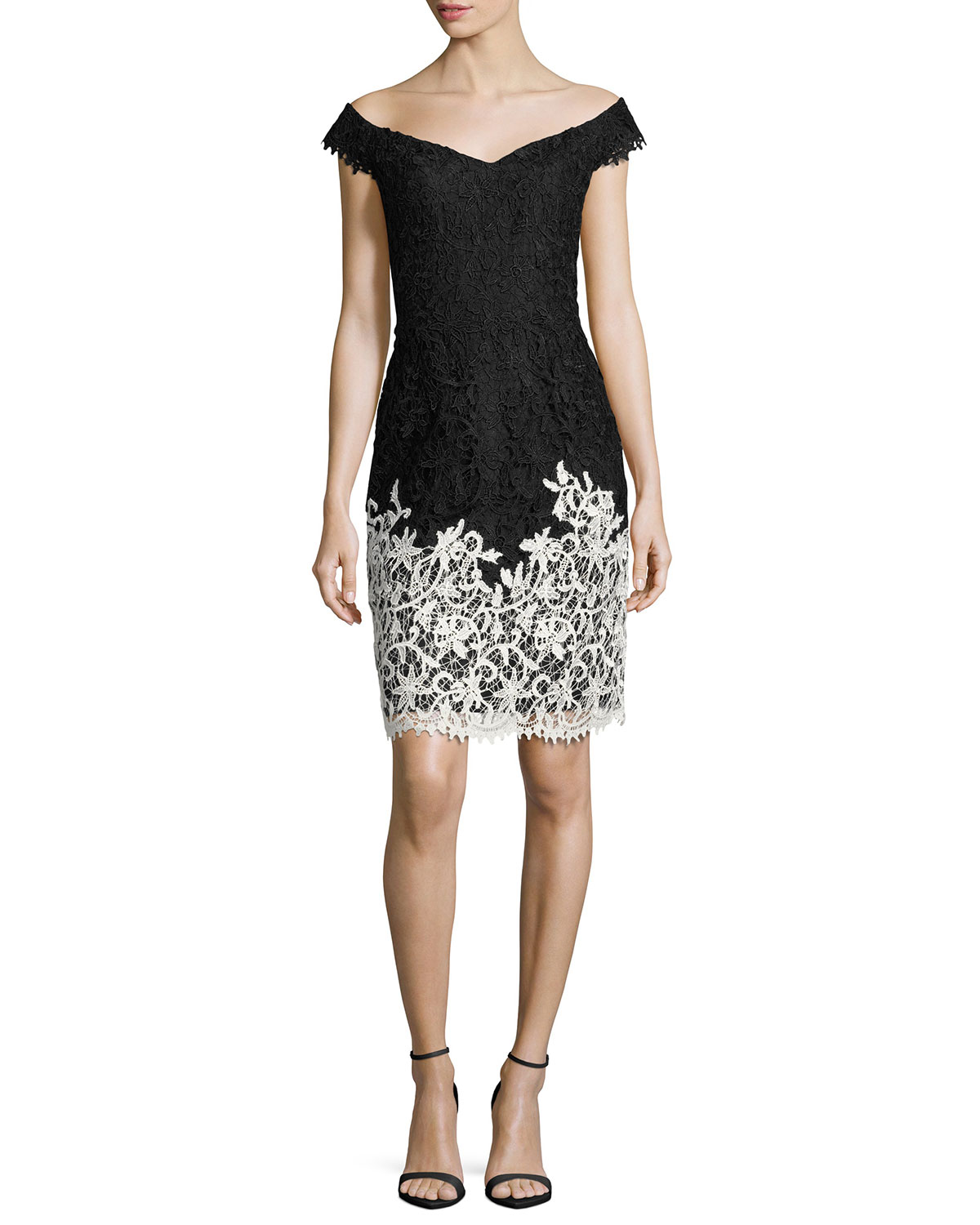Two-Tone Lace Off-the-Shoulder Cocktail Dress, Black/White