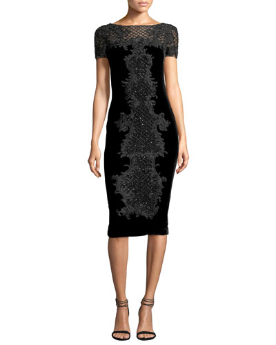 Baroque Embroidered Velvet Cocktail Dress, Black
