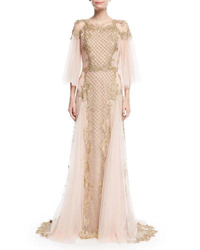 Metallic Embroidered Tulle-Sleeve Gown