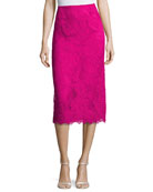 Lace Pencil Skirt, Fuchsia