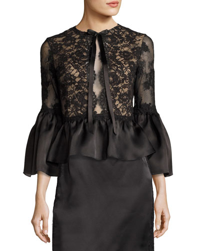 Corded Lace Satin Peplum Top