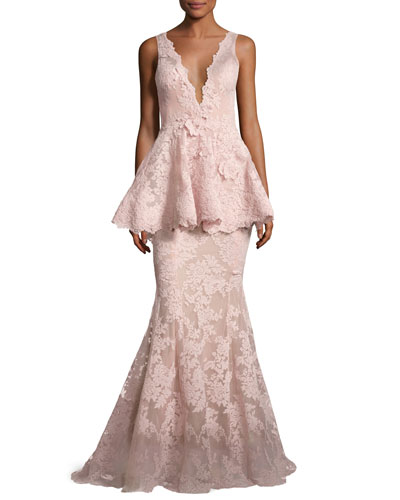 Sleeveless Plunging V-Neck Peplum Gown, Blush