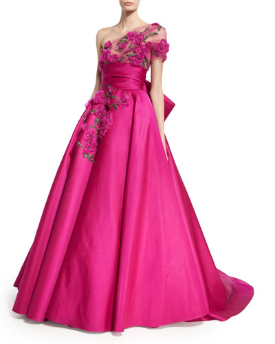 Floral-Embroidered One-Shoulder Ball Gown, Fuchsia