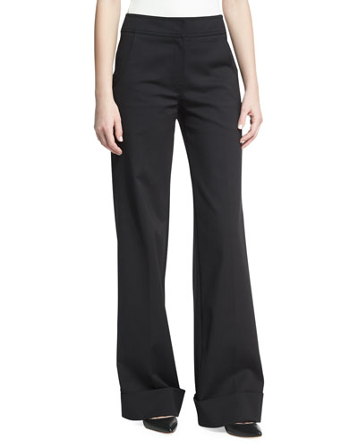 Wide-Leg Cuffed Pants, Black