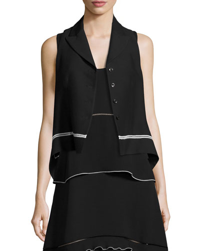 Cropped Vest with Contrast Lace Trim, Black