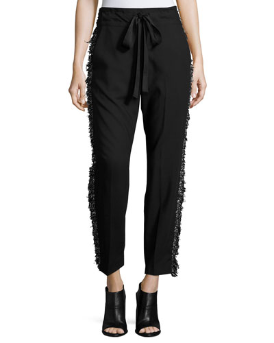 Fringe-Side Tapered Drawstring Pants, Black