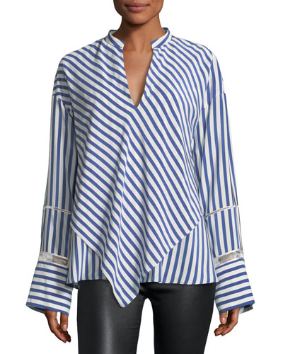 Lace-Inset Striped Silk Blouse w/ Handkerchief Hem