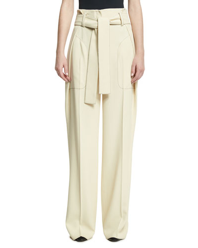 Belted Paperbag-Waist Wide-Leg Trousers, Off White
