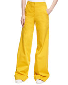 Wide-Leg Stretch Cotton Trousers, Yellow
