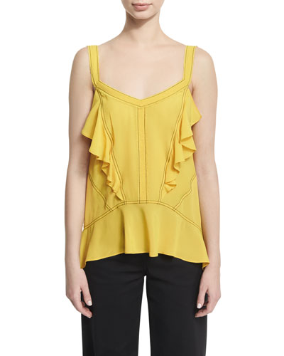 Ruffled Silk Georgette Camisole with Contrast Stitching, Yellow