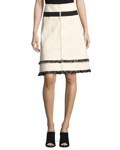 Mixed-Media Fringe Zip-Front Denim Skirt, White