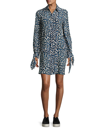 Leopard-Print Pleated Shirtdress, Blue