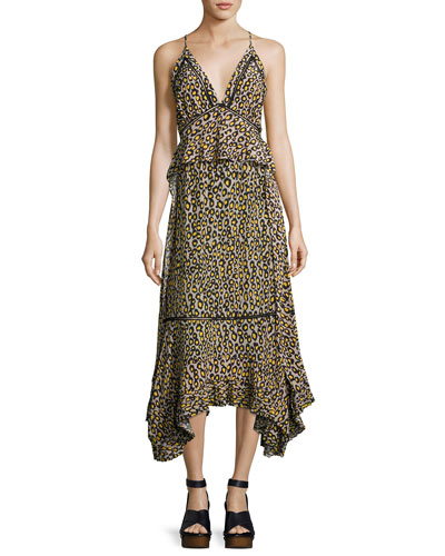 Leopard-Print Lace-Inset Sleeveless Silk Midi Dress, Yellow