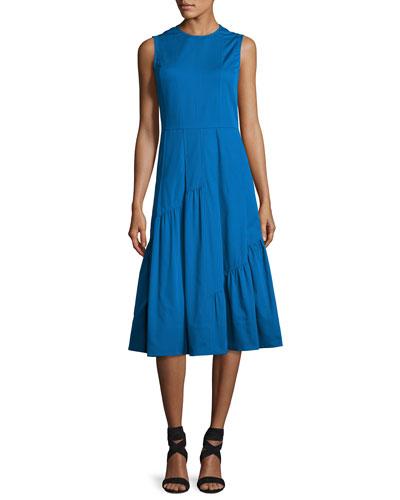 Sleeveless Shirred-Skirt Midi Dress, Turquoise