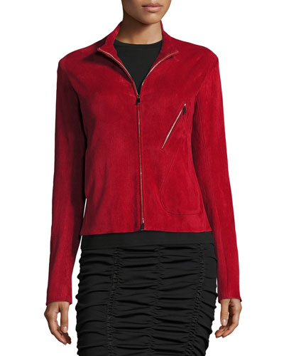 Tripton Stretch-Suede Zip-Front Jacket, Crimson