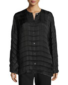 Plisea Pleated Crepe Shirt, Black