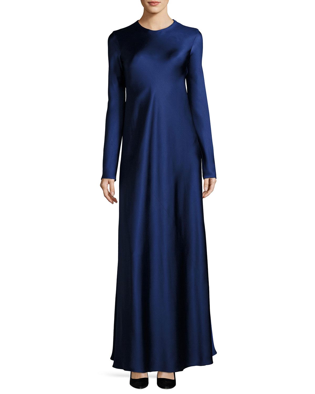 Yulia Long-Sleeve Satin Gown, Dark Blue