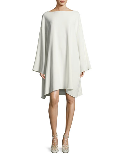 Tharpe Charmeuse Long-Sleeve Minidress, Off White