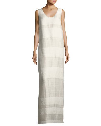 Yellin Sleeveless Textured Stripe Linen-Silk Maxi Dress, Light Beige