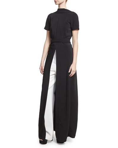 Short-Sleeve Backless Maxi Top, Black