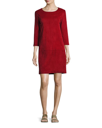 Rina Stretch-Suede 3/4-Sleeve Shift Dress, Crimson
