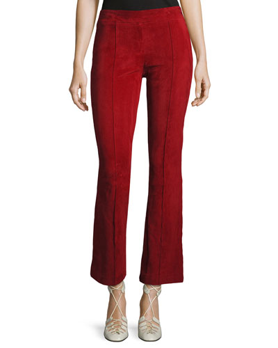 Athby Suede Kick-Flare Leggings, Crimson