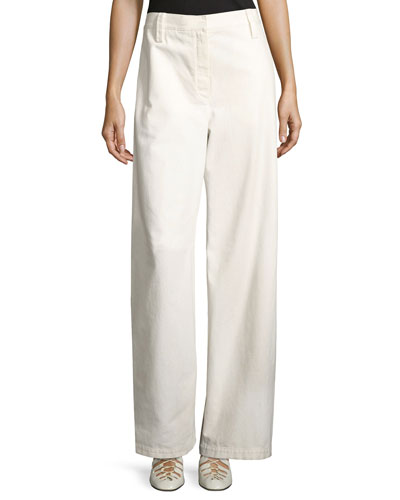 Werto Cotton Wide-Leg Pants, White