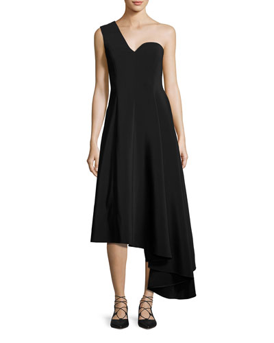 One-Shoulder A-Line Dress with Asymmetric Hem, Black