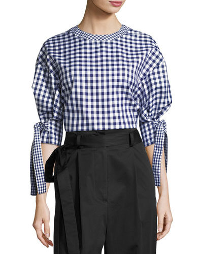 Gingham Balloon-Sleeve Blouse, Blue/White