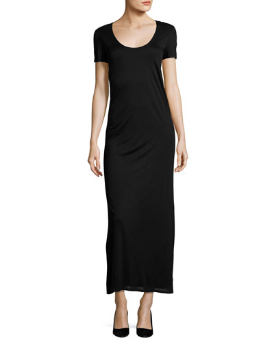 Melen Viscose Jersey Short-Sleeve Maxi Dress, Black